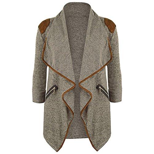 Tsmile Autumn Winter Womens Cardigan Jacket Plus Size Long Sleeve Open Front Casual Blazer Outwear (Large, Khaki) ()