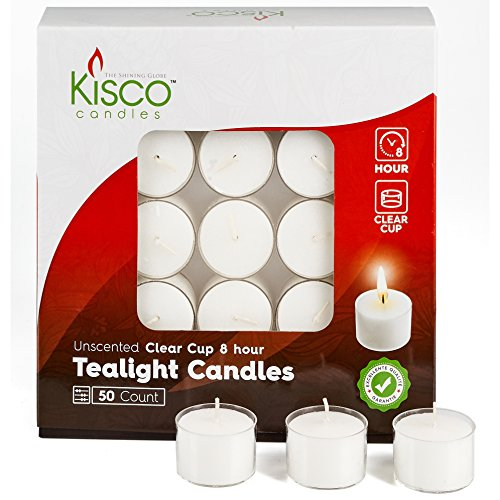 - Kisco Clear Cup White Unscented Tea Light Candles - 8 Hour Long Burning Tealight Votive Candles - Bulk Candles Pack of 50 for Holiday, Wedding and Home Decoration