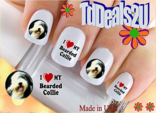 Dog Breed - Bearded Collie I Love Nail Decals - WaterSlide Nail Art Decals - Highest Quality! Made in (Bearded Collie Breed)