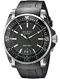 Gucci Dive Analog-Display Swiss Quartz Black Mens Watch(Model:YA136204)