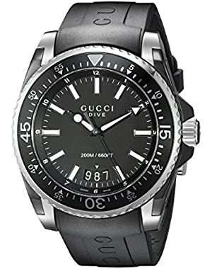 Gucci Dive Analog-Display Swiss Quartz Black Men's Watch(Model:YA136204)