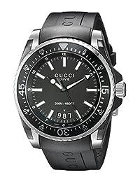 Gucci YA136204 Men's Dive Wrist Watches, Black Dial, Black Band