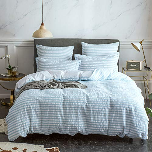 Merryfeel 100% Cotton Yarn Dyed Seersucker Duvet Cover Set - King Light Blue (Seersucker Bed Sheets)