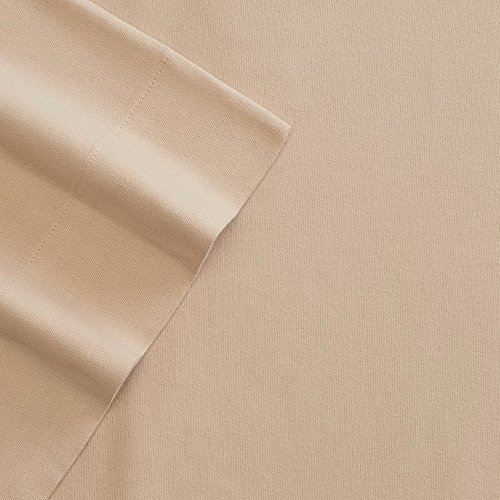 Cuddl Duds Twin Flannel Sheet with Deep Pockets, 4-Pieces - Tan