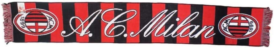 Misure Uni Perseo AC Milan Sciarpa Jacquard Ufficiale Rosso Nero