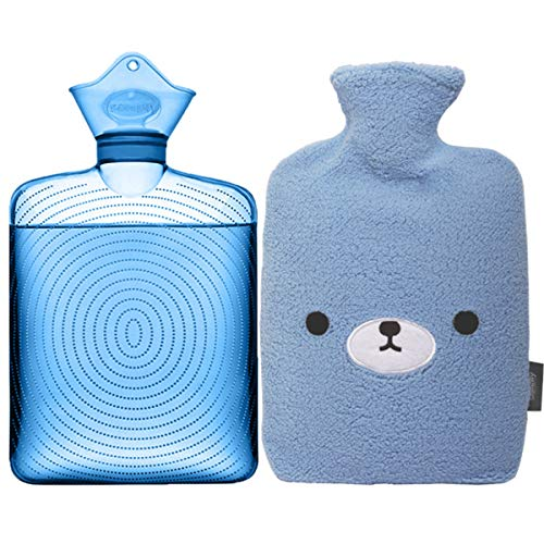 Discover Bargain Samply Transparent Hot Water Bottle- 2 Liter Water Bag with Cute Fleece Cover, Bear...