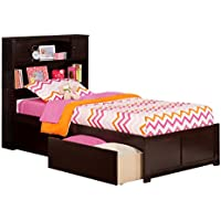 Newport Flat Panel Foot Board with 2 Urban Bed Drawers, Twin XL, Espresso