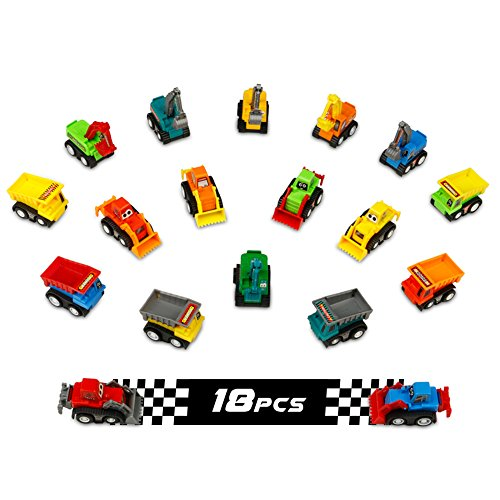 Fajiabao 18 Pieces Construction Toy Machines Car Set Mini Pull Back Vehicles Cake Toppers Supplies Birthday Decorations Kits Fun Bulldozer Excavator Dumper Truck for Boys Toddlers Kids - Color Random