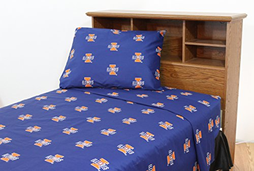 (College Covers Illinois Fighting Illini Printed Sheet Set, Queen)