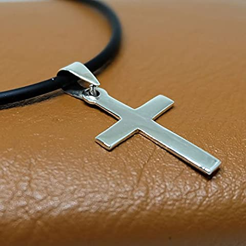 925 Sterling Silver Mens Cross Pendant - PVC Necklace 18 inch 2mm. Lobster Clap Lock. (Konov His And Hers)