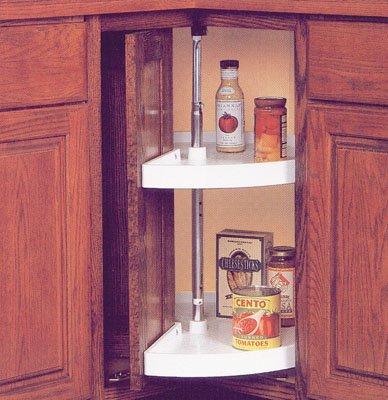 Knape & Vogt KV Lazy Susan Pie Cut Door Mounted 2 Polymer Shelves 24'' (Set) White by Knape & Vogt
