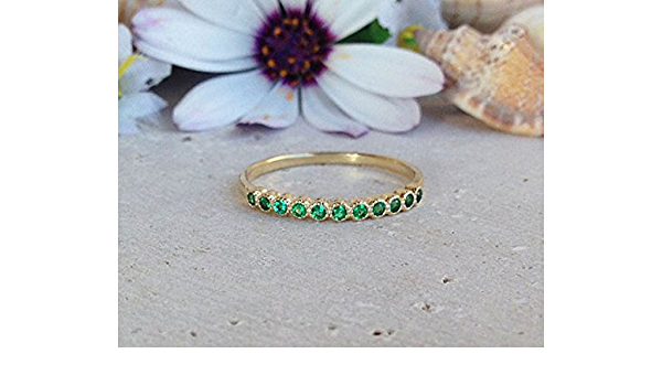 Dainty Emerald Ring Tiny Gold Gemstone Stacking Ring May Birthstone Ring Minimalist Gold Filled Green Stone Ring