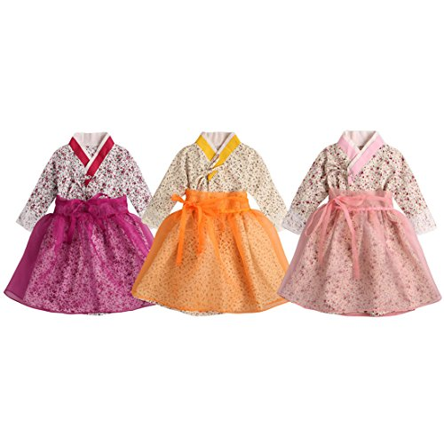Traditional Dress Korean - PAUBOLI Baby Girl Korean Clothes Korean Hanbok Long Sleeve Dress 9 Months to 6T (3-4 Years, Pink)