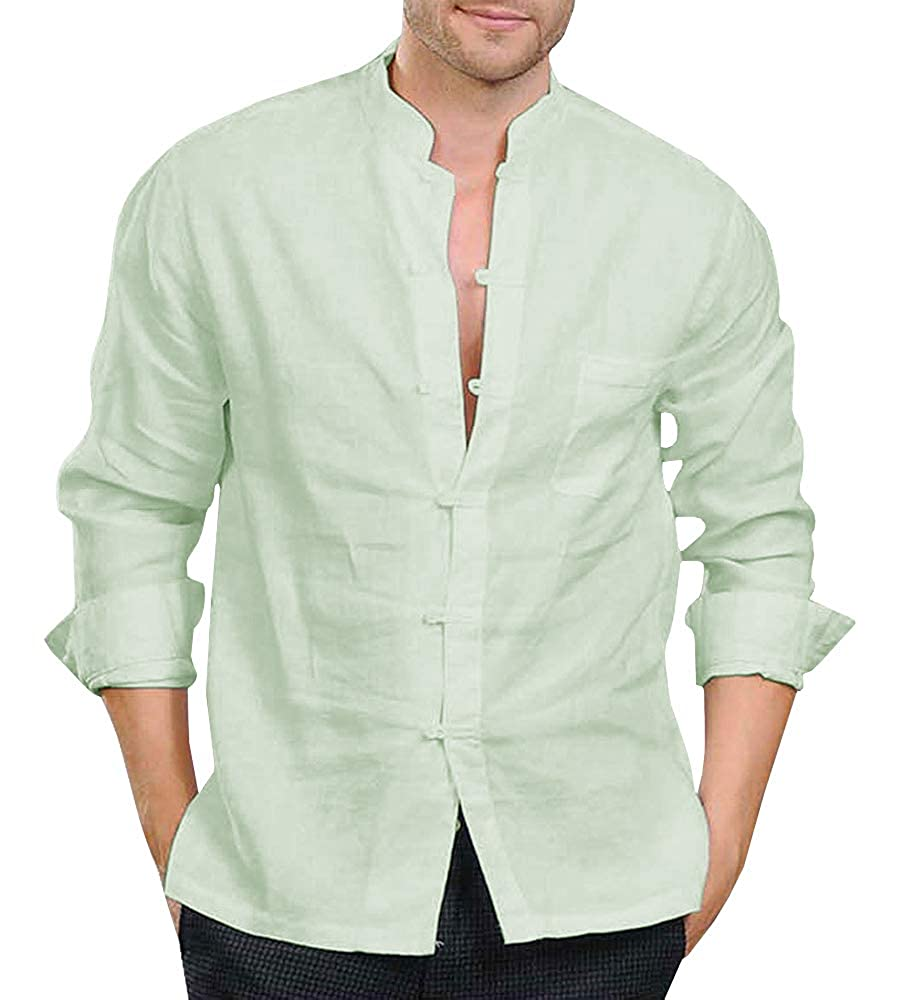 Makkrom Mens Linen Cotton Chinese Tunic Suit Shirts Frog-Button Mandarin Collar Roll-Up Sleeve Tang Shirt Blouse Tops