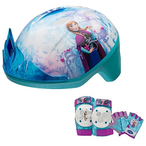 Disney Frozen Tiara Girls Skate / Bike Helmet, Pads & Gloves - 7 Piece Set (Disney Frozen Helmet)