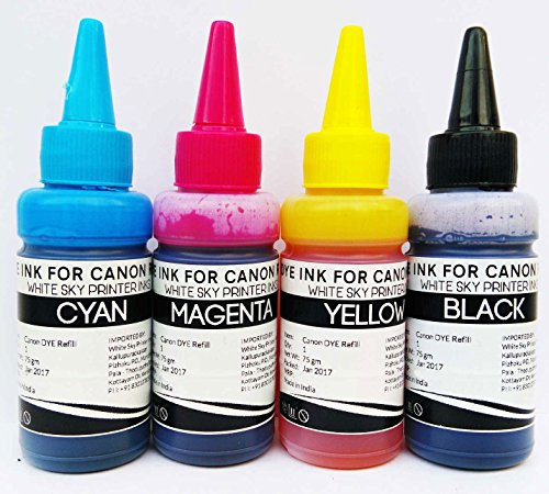 White Sky Compatible Refill Ink for Canon Pixma Printer 300ml Suitable for E500, E510, E400, E410, E560, E470, E480, E417, E600, E610, E477 MG Series, MP Series, IP Series etc. with 4 Syringes