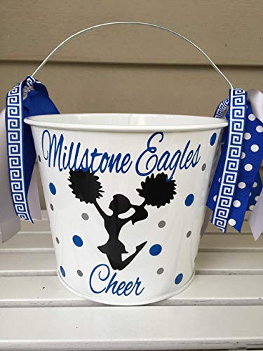 Personalized Halloween trick or treat bucket or gift basket - cheerleader design to match your child's costume]()