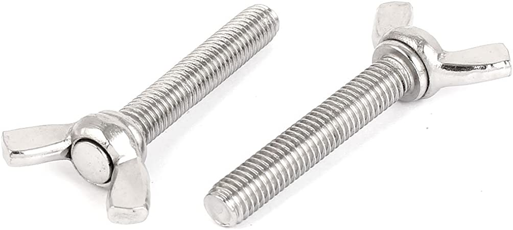 uxcell M8 x 45mm 304 Stainless Steel Wing Butterfly Thumb Screw Silver Tone 5pcs