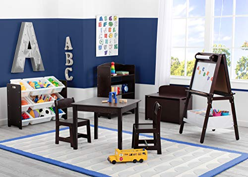 Delta Children MySize Kids Wood Table And Chair Set (2 Chairs Included) - Ideal For Arts & Crafts, Snack Time, Homeschooling, Homework & More, Dark Chocolate