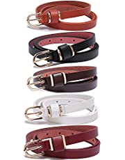 Set of Women's Skinny Leather Belt Solid Color Waist or Hips Ornament 10 Sizes