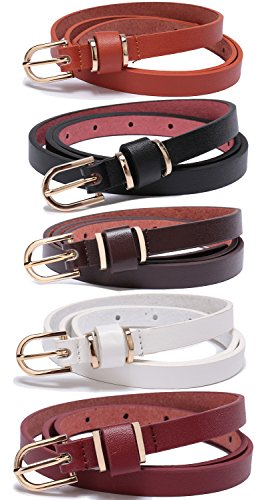 Set of 5 Women's Skinny Leather Belt Solid Color Waist or Hips Ornament 10 Sizes (46-48, Set of 5 belts 1/2 wide)