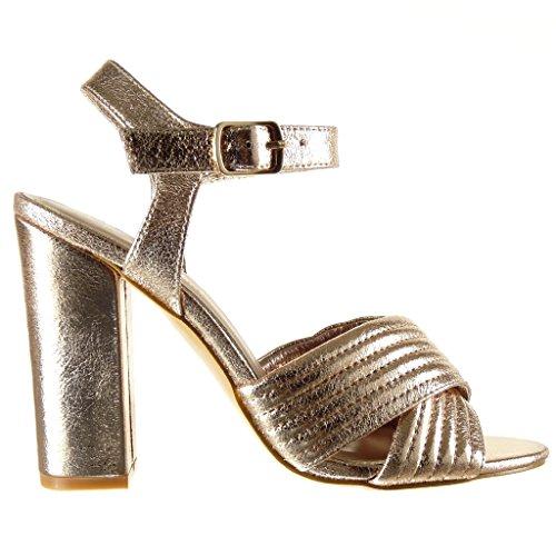 Angkorly Lignes Surpiqûres Femme Sandale Coutures 10 Talon Mode 5 Champagne cm Chaussure Lanière Ouverte Escarpin Finition Bloc Haut YY1UF