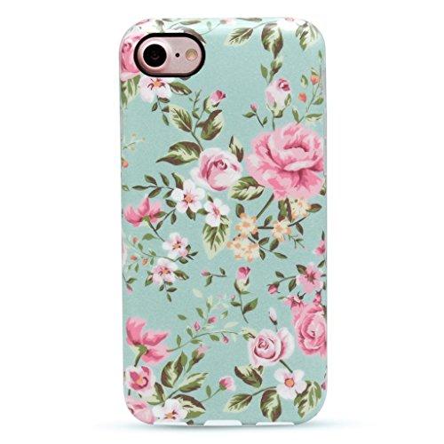 GOLINK iPhone 7 Case for Girls/iPhone 8 Floral Case, Floral IMD Printing Slim-Fit Anti-Scratch Shock Proof Anti-Finger Print Flexible TPU Gel Case for iPhone 7/iPhone 8 - Elegant Green (Iphone 4 Cases Floral Vintage)