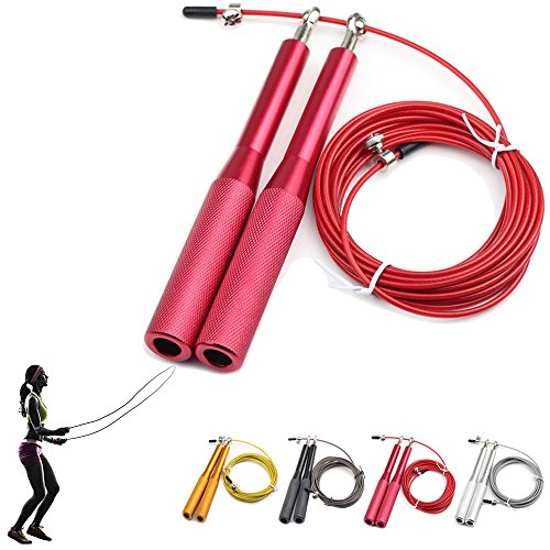 Jump Rope - Adjustable PVC Coated Steel Cable - Speed Jumping, Double Unders, WOD, MMA, Boxing, Skipping Workout & Fitness Exercise Training - With Carry Case & Spare Screw Kit
