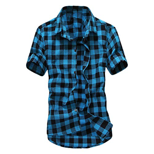 LEXUPA long sleeve t shirt men Men's Short Sleeve Lattice Plaid Painting Large Size Casual Top Blouse Shirts(SkyBlue