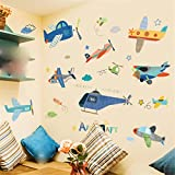 YUMULINN wallpaper stickers Wallpapers murals Cute children's room baby boy bedroom decorations wall stickers cartoon aircraft kindergarten layout self-adhesive wall stickers