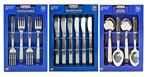 Daily Chef Dinner Forks, Dinner Spoons, and Dinner Knives Flatware Bundle - 108 Pieces Windsor Pattern
