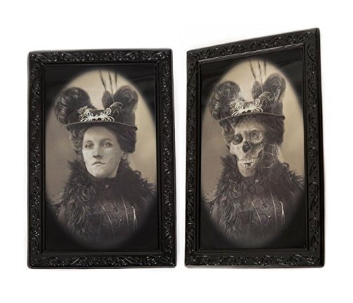 Halloween Lenticular 3D Changing Face Moving Picture Frame Horror Portrait Lady Gentleman Little Girl Monster Haunted Spooky Decorations for Halloween Theme Party Home Decor (Dowager)