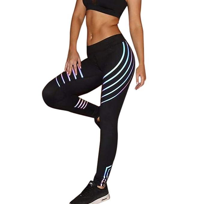RISTHY Mujer Leggings Reflectantes Push Up Yoga Pantalones Fitness Brillante Chic Cintura Alta Deportes Elásticas Leggins Nocturno Disco Partido ...