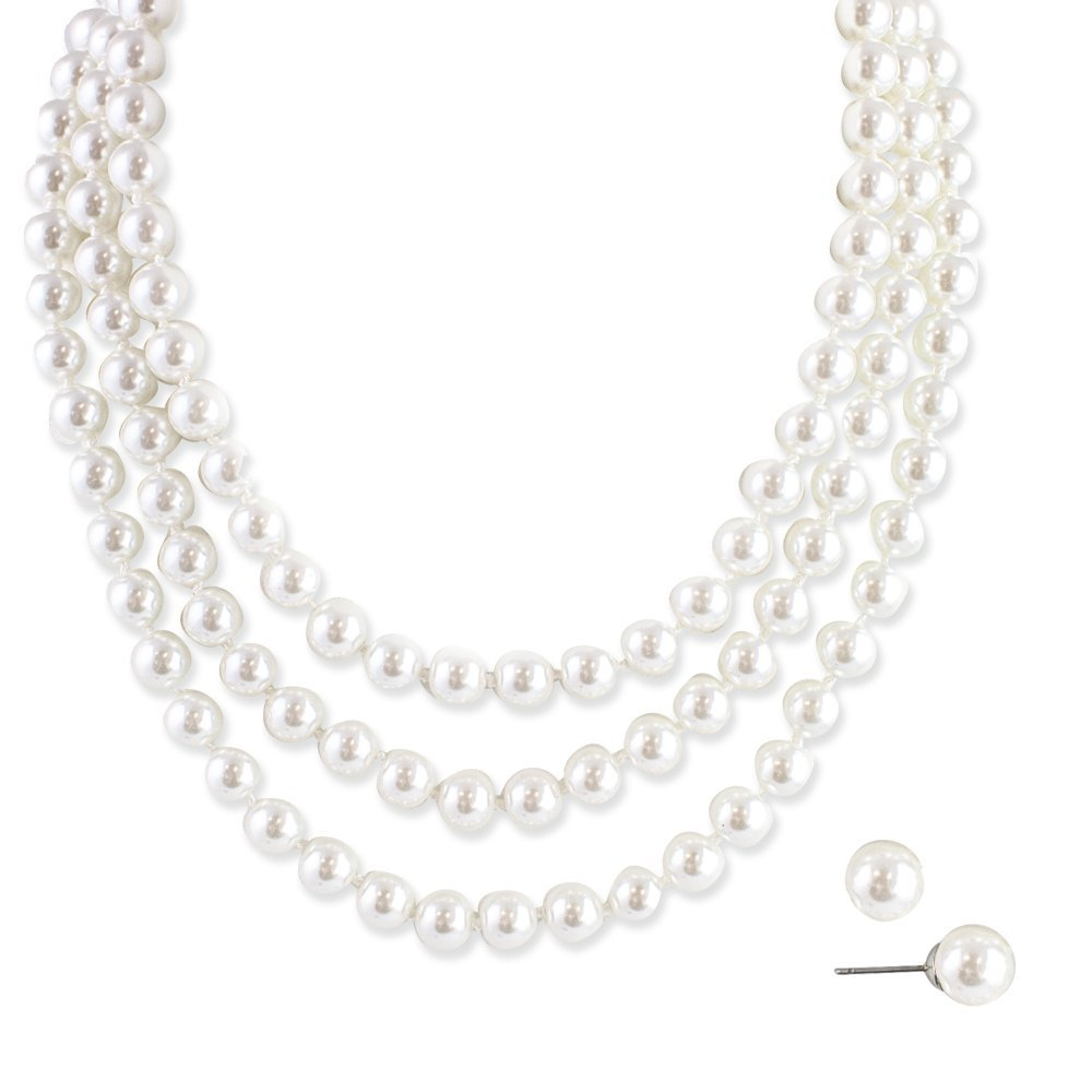 LookLove Womens Jewelry Three Strand Glass Pearl Necklace and Earrings Set