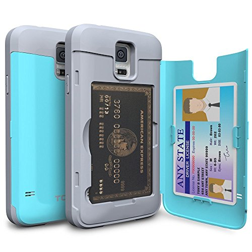 Galaxy S5 Case, TORU [S5 Wallet Case Teal] Protective Slim Fit Dual Layer Hidden Credit Card Holder ID Slot Card Case with Mirror for Samsung Galaxy S5 / S5 Neo - Cyan