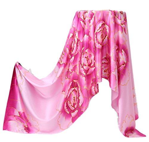 Écharpe Couleur Peinte pink De Soie Fleurs Shs01 Violet Main 180 Intense Fleur Cm La Long Prettystern Satin À Crêpe AR54Lj
