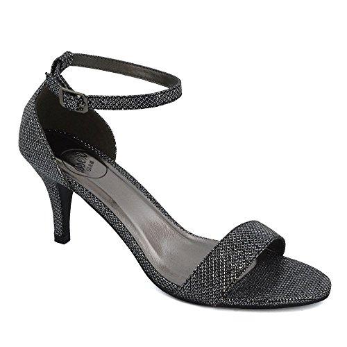 Stiletto Caviglia Cinturino Glitter Glitter Toe Sandalo Peep GLAM ESSEX Donna Nero alla Diamante wpWYS