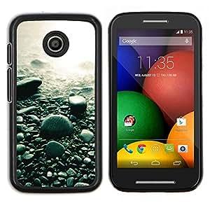 Guijarros de la playa- Metal de aluminio y de plástico duro Caja del teléfono - Negro - Motorola Moto E / XT1021 / XT1022