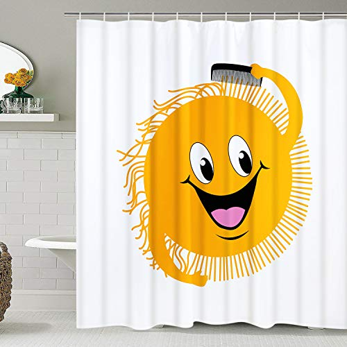 Smurfs Yingda Yellow Smile Face Shower Curtain Cartoon Sun Bathroom Curtain Durable Waterproof with Hooks