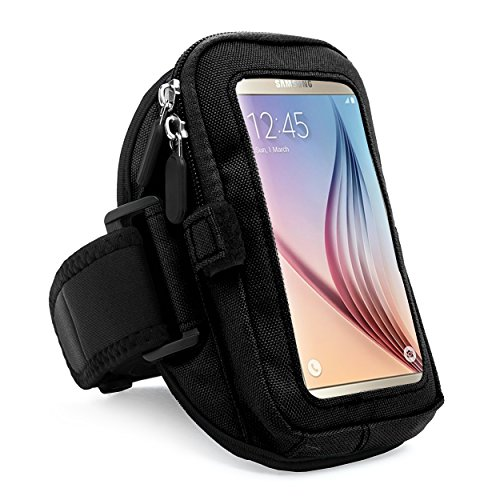 VanGoddy zippered Sport Case Cover Gym Running Armband with removable strap & card / key holder for Samsung Galaxy S6 / Edge / Active Fit 4.7 to 5.5 inch Ios Android Windows smart Phone (Black) by SumacLife