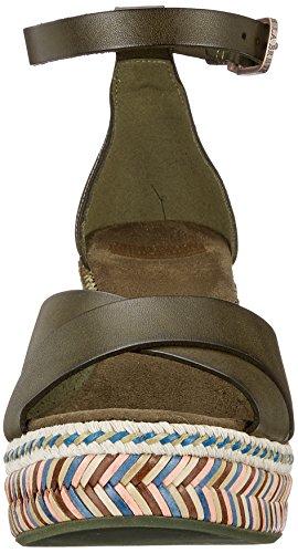 Fred de la Bretoniere Keilsandale Leder, Sandali con Cinturino Alla Caviglia Donna Verde (Dark Olive)