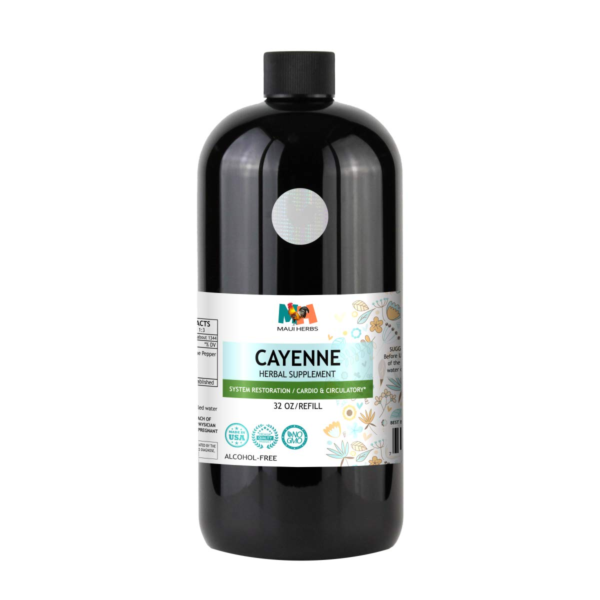 Cayenne Tincture Alcohol-Free Extract, Organic Cayenne Pepper (Capsicum annuum) (32 FL OZ)