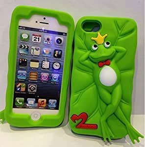 RASK 3D Stylish Lovely Cute Cartoon The Frog Prince Design Silicone Soft Back Cases Covers for Apple iPhone 5S 5 Green #2