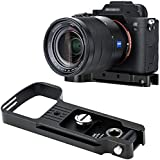 JJC Metal Extension Hand Grip Holder Base for Sony A9 A7RIV A7RIII A7III A7RII A7SII A7II Camera, Arca Swiss Quick Release Tripod Plate w/Battery Compartment Opening & Strap Eyelet & Cold Shoe Mount