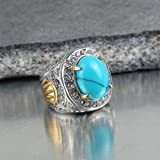 Fashion Stainless Steel Mens Blue Turquoise Crystal Vintage Ring Size 7 8 9 10 (9)