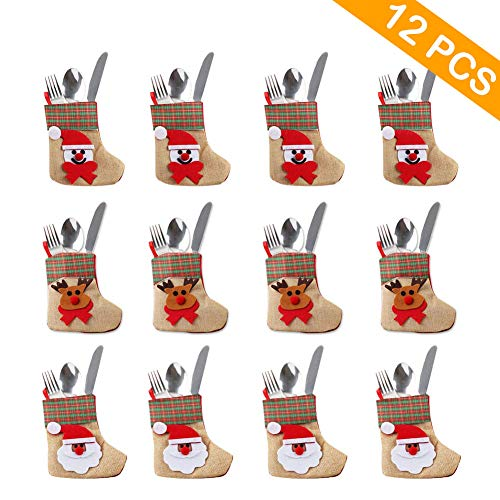 - OurWarm 12PCS 3D Bulk Mini Christmas Stockings, Santa Snowman Reindeer Burlap Silverware Holders Tableware Bags for Rustic Christmas Decorations