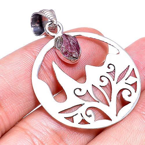 (Valentine Special Filigree Tourmaline Rough Gemstone Pendant 925 Sterling Silver Jewelry 1.7