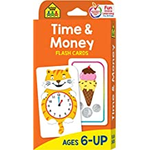 School Zone - Time and Money Flash Cards - Ages 6 and Up, 1st Grade, 2nd Grade, Telling Time, Reading Clocks, Counting Coins, Coin Value, Coin Combinations, and More