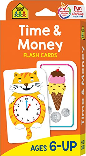 School Zone - Time and Money Flash Cards - Ages 6 and Up, 1st and 2nd Grade, Telling Time, Reading Clocks, Counting Coin