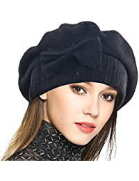 Lady French Beret 100% Wool Beret Floral Dress Beanie Winter Hat b2629b13c48d